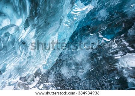 The Ice Cave in Iceland near Hofn. Vatnajokull Glacier. - stock photo