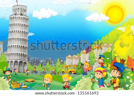 The iconic and historical architecture of Europe with kids - the Leaning Tower of Pisa - illustration for the children