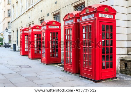 The iconic red telephone booths on Broad Court, Covent Garden, London