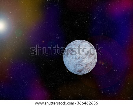 The icy planet in outer space was created using digital software - stock photo