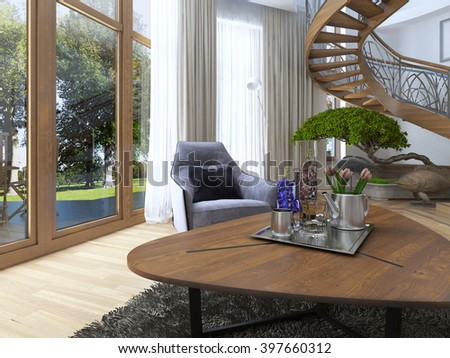 The idea of design Low wooden coffee table with decor and flowers, in the living room in a modern style. 3D render.