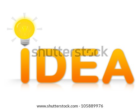 The Idea Text With Light Bulb Sign on I Letter Isolated on White Background - stock photo