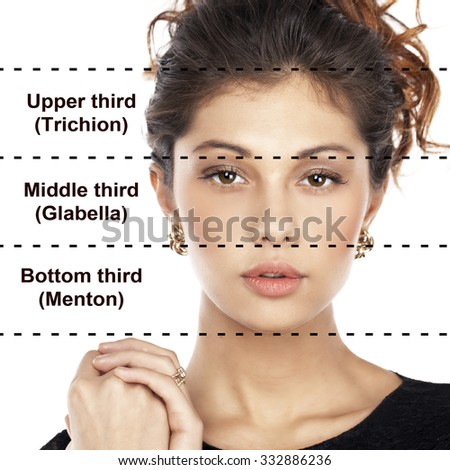 The ideal beauty. Symmetric of the female face of young woman, isolated on white background. Translation of inscriptions from top to bottom: upper third, middle third lower third - stock photo