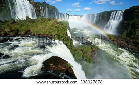 The Iguazu Falls are waterfalls of the Iguazu River on the border of Argentina and Brazil. They are the largest waterfalls system in the world.