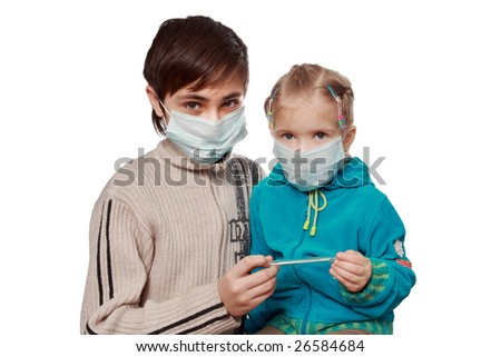 The ill children in respirators consider the medical thermometer
