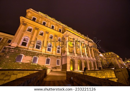 The illuminated main facade of the historic Royal Palace - Buda Castle in Budapest with the statue of Savoyai Eugen - Hungary at night