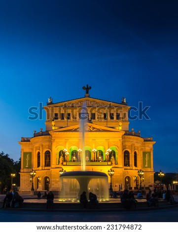 The illuminated Old Opera, Alte Oper, in Frankfurt, Germany, at sunset.