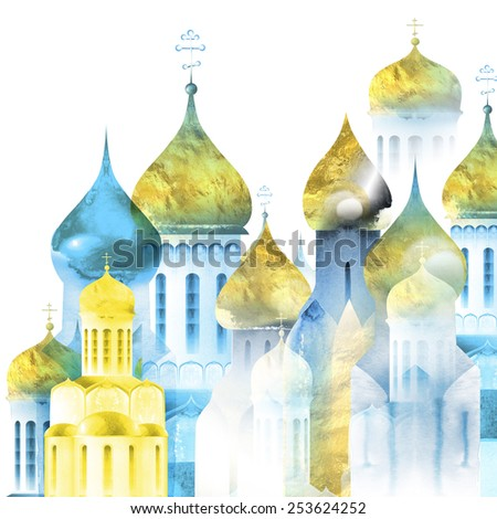 The illustration - drawn with ink, watercolor and pen Russian church as an imitation of an engraving and an element of architecture