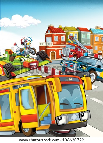 The illustration for children with different vehicles - high - happy - stock photo