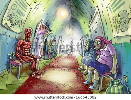 The illustration of the anatomical man sitting in a hospital corridor. All another patients and even the doctor are very wondered. - stock photo
