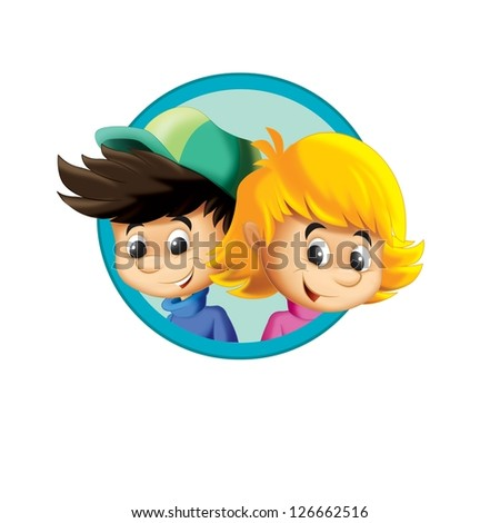 The illustration of the kids - smiling faces - in icon form - in circle - ellipse - drawing for children - decor good for ad or wrapping - banner - stock photo