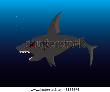 The illustration representing a spiteful shark with an open mouth on a background of the dark blue sea