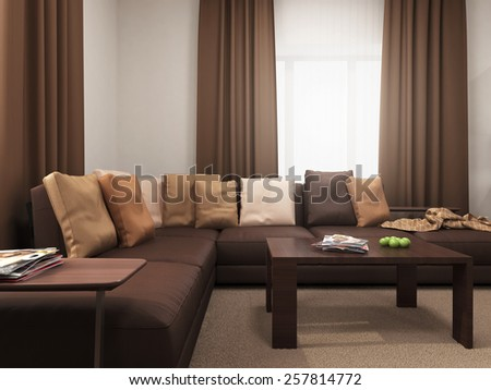 The image is part of the interior with various furniture  3D rendering