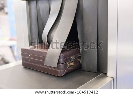 the image of a Baggage on conveyor belt - stock photo