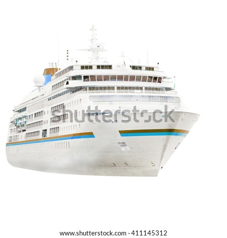 The image of a cruise ship isolated under the white background - stock photo