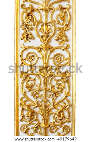 The image of a gold pattern, the border in a white background