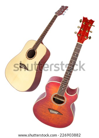The image of a guitar under the white background