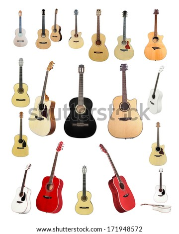 The image of a guitars isolated under the white background