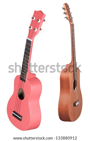 The image of a guitars under the white background