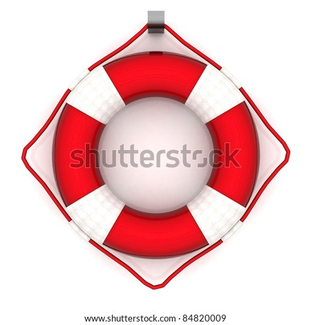 The image of a life buoy on a white background