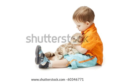 The image of a little boy with a cat on a white background - stock photo