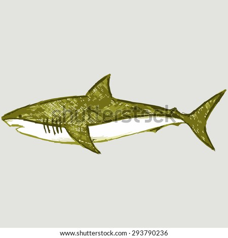 The image of a shark. Sea creatures. Raster version - stock photo