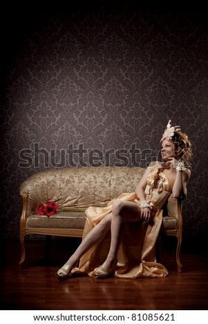 The image of a woman in a luxurious vintage style - stock photo