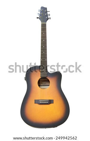 The image of acoustic guitar isolated under the white background - stock photo