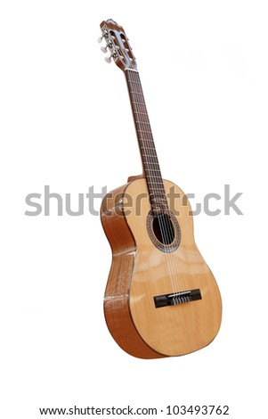 The image of acoustic guitar under the white background - stock photo
