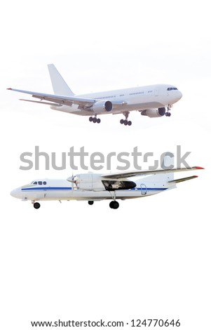 The image of airplanes under the white background