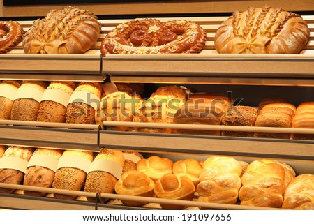 the image of an Assorted kinds of fresh baked bread - stock photo