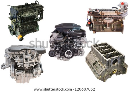 The image of an engines under the white background - stock photo