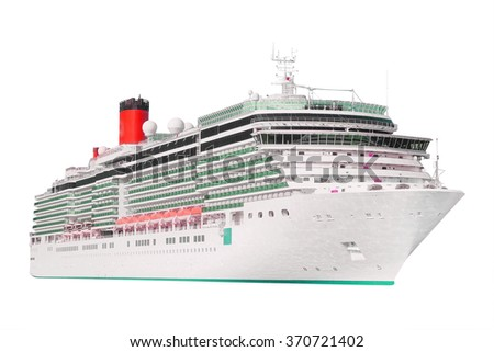 The image of an isolated cruise liner - stock photo