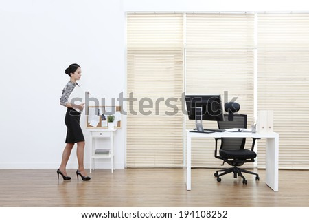 the image of Asian businesswoman and working at home - stock photo