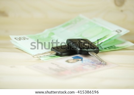 The image of car keys on a euro banknotes