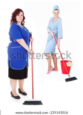 the image of cleaner with mop - stock photo