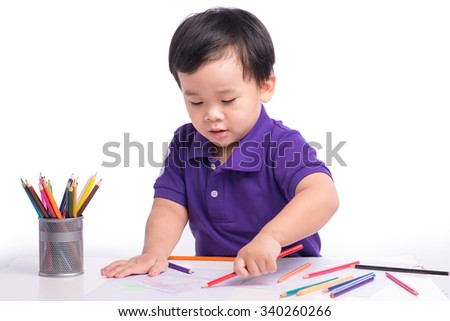 The image of cute Asian kid drawing. Isolated Boy Child writing