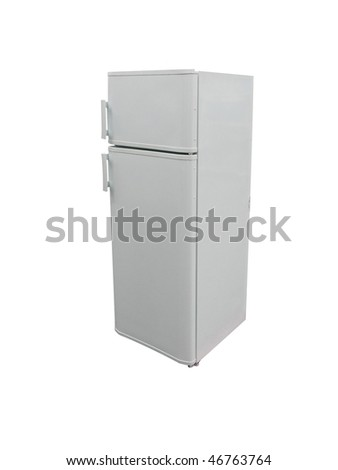 The image of dark grey refrigerator under the white background. Focus is under the front edge of refrigerator - stock photo