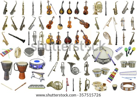 The image of different music instruments - stock photo