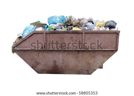 The image of dustbin under the white background - stock photo