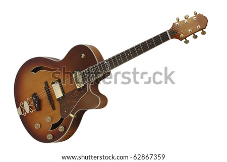 The image of electric guitar under the white background - stock photo