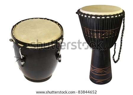 The image of ethnic african drums under the white background - stock photo
