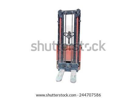 The image of forklift under the white background  - stock photo