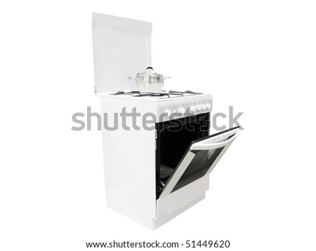 The image of gas cooker under the white background - stock photo