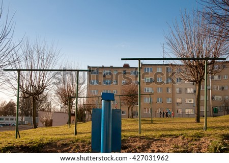 The image of houses in town  - stock photo