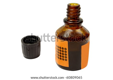 The image of iodine bottle under the white background - stock photo