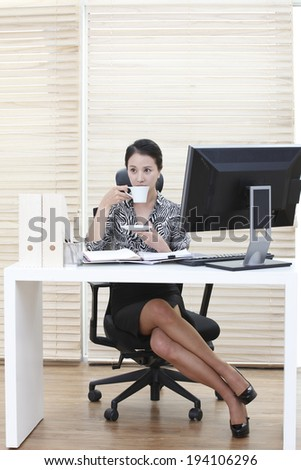 the image of Korean businesswoman and working at home