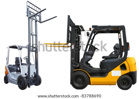 The image of loaders under the white background - stock photo