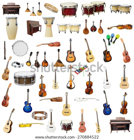 The image of music instruments isolated under the white background - stock photo