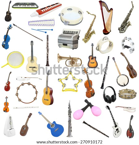 The image of music insyruments isolated under a white background - stock photo
